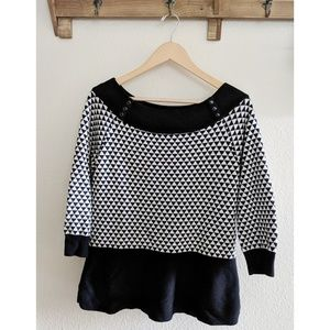 WHBM triangle pattern black and white sweater